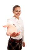 女实业家现有量提供的年轻人 免版税库存图片