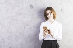 女实业家电话使用 图库摄影