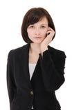 女实业家电话联系 库存照片