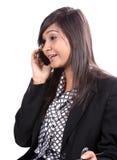 女实业家电话 库存图片