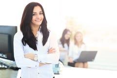 女实业家画象在工作场所 免版税库存照片