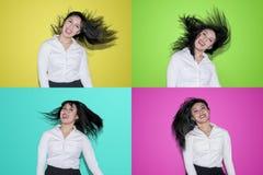 女实业家的运动有头发吹的 图库摄影