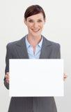 女实业家看板卡藏品微笑的白色 库存照片