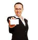 女实业家看板卡 免版税库存照片