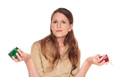 女实业家礼品犹豫不决 免版税库存照片
