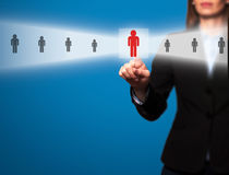 女实业家精选从电子接口的新的雇员 免版税图库摄影