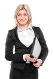 女实业家纵向微笑 免版税库存照片
