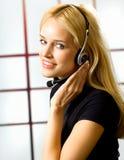 女实业家耳机 库存图片