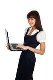 女实业家膝上型计算机身分 免版税图库摄影