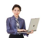 女实业家膝上型计算机 库存照片