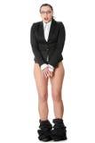女实业家被捉住在新的裤子下 库存图片