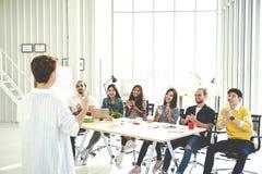 女实业家解释想法对小组创造性的不同的队在现代办公室 打手势手的经理背面图再站立 库存图片