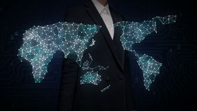女实业家触摸屏,各种各样的医疗保健技术象连接全球性世界地图,小点做世界地图 1 向量例证