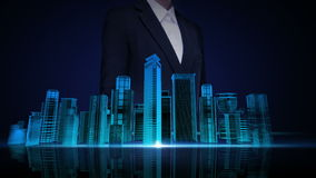 女实业家触摸屏,建筑大厦城市地平线和做动画的城市 霓虹蓝色X-射线图象 皇族释放例证
