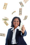 女实业家货币 库存照片