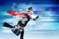 女实业家赛跑的综合图象,当假装是特级英雄时 免版税图库摄影