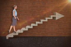 女实业家走的3d的综合图象 免版税图库摄影