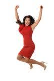 女实业家跳跃 免版税库存照片
