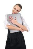 女实业家逗人喜爱的膝上型计算机 库存照片