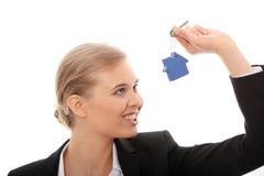 女实业家链藏品房子关键字形状的年&# 免版税库存照片