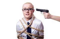 女实业家阻塞与被隔绝的绳索 免版税库存图片