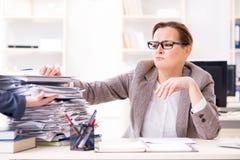 女实业家非常繁忙与持续的文书工作 库存照片