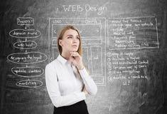 女实业家,网络设计,黑板 免版税库存照片