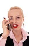 女实业家画象她的手机的 免版税库存照片