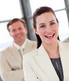 女实业家os纵向微笑 免版税库存照片