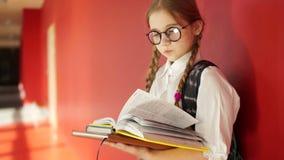 女小学生为检查做准备 戴生叶通过课本的眼镜的女孩 股票视频