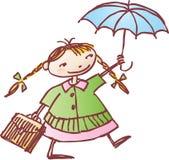 女小学生伞 免版税图库摄影