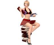 女小学生制服的逗人喜爱的女孩坐与书的书堆  库存图片