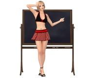 女小学生制服的逗人喜爱的女孩站立在有ch的黑板 库存图片