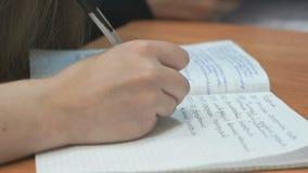女小学生在习字簿写在教训 影视素材