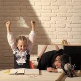 女小学生激动正面和她睡觉个别辅导 库存图片