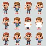 女小学生男小学生教育优秀学生天才学校背包聪明的学生女孩聪明的一致的衣服3d动画片 库存例证