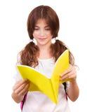 女小学生阅读书 库存照片