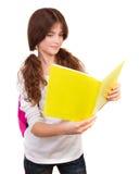 女小学生阅读书 库存图片
