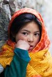 女小学生画象从Baltistan,拉达克的 库存图片