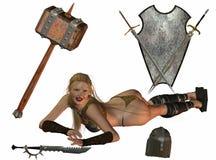 女性中世纪战士 免版税库存照片
