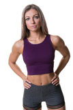 女性体操私有健身培训人或讲师 库存图片