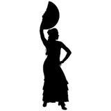 女性佛拉明柯舞曲舞蹈家一个黑剪影  免版税库存照片