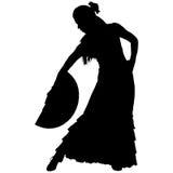 女性佛拉明柯舞曲舞蹈家一个黑剪影  免版税库存图片