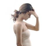 女性偏头痛模型症状 图库摄影