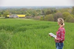 女性农夫与电子一起使用 免版税库存图片