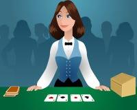 女性副主持人在赌博娱乐场 库存例证