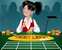 女性副主持人在赌博娱乐场 向量例证