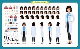 女性医生字符创作集合 全长,不同的看法,情感,姿态 被隔绝的传染媒介设计 平式的动画片 向量例证