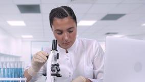 女性医疗专业神色在生物样品在显微镜下和给膝上型计算机写数据,当坐时 股票录像