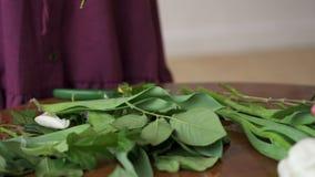女性卖花人修剪花茎,在桌,特写镜头留下秋天 股票视频